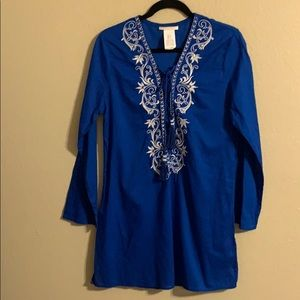 La Blanca bright blue embroidered cover up